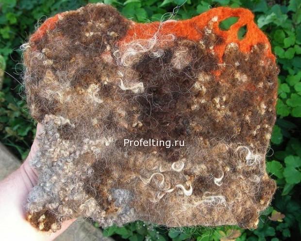 Образец флиса нескольких пород и сочетания их с окрашенной шерстью основы